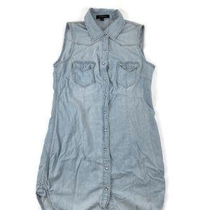 Fiore Womens Denim Tunic Sleeveless Blue Pockets M